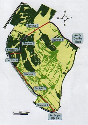 Localisation des différents secteurs de la réserve du Sabot de Frotey les Vesoul