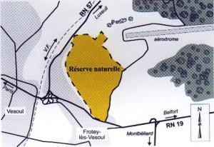 Plan de la réserve naturelle national du sabot de Frotey les Vesoul